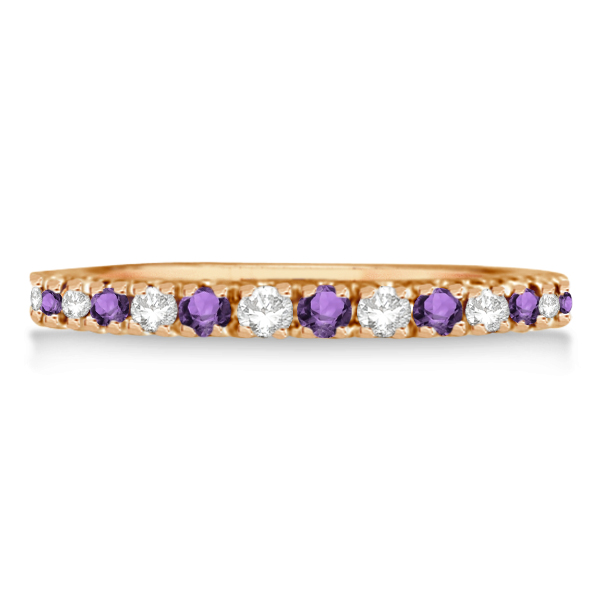 Diamond and Amethyst Eternity Ring Guard Band 14K Rose Gold (0.64ct)