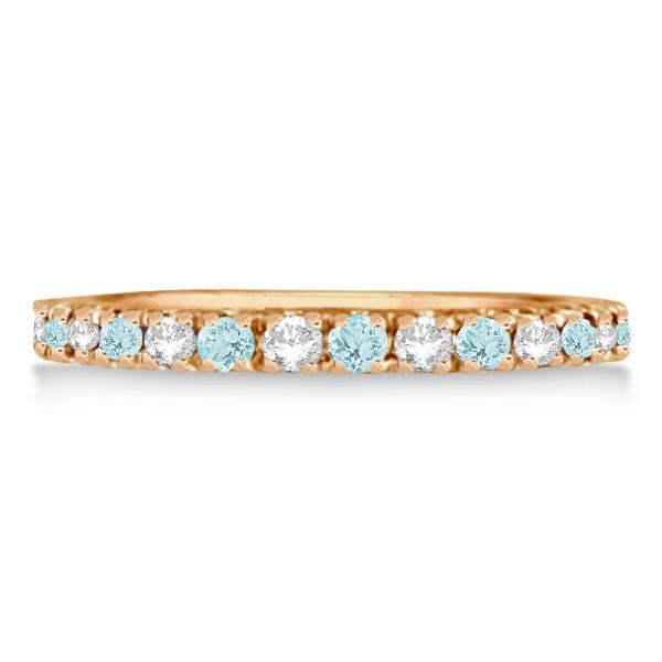 Diamond & Aquamarine Eternity Ring Stacking Band 14K Rose Gold (0.51ct)