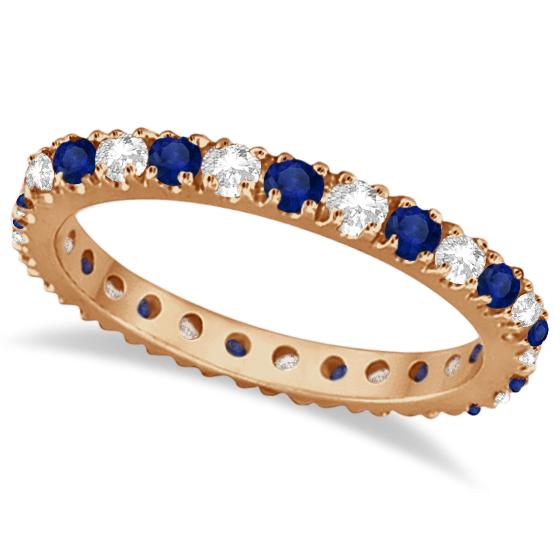 Diamond & Blue Sapphire Eternity Ring Guard Band 14K Rose Gold (0.51ct)