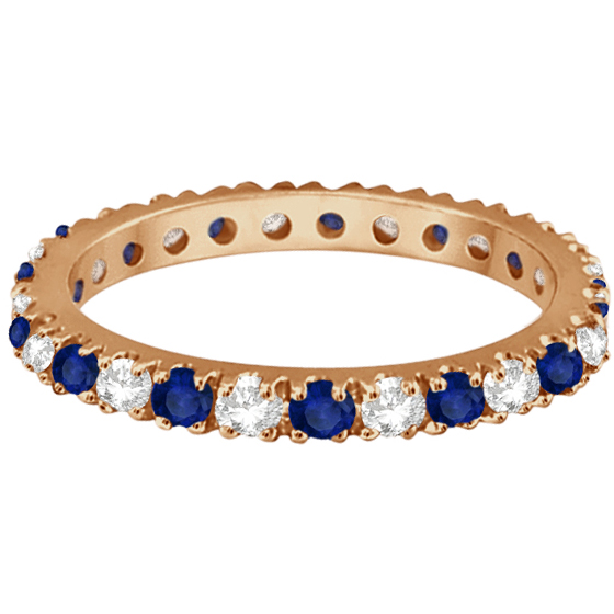 Diamond & Blue Sapphire Eternity Ring Guard Band 14K Rose Gold (0.51ct)