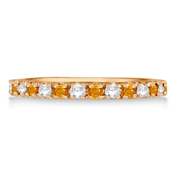 Diamond and Citrine Eternity Ring Stackable Band 14K Rose Gold (0.64ct)
