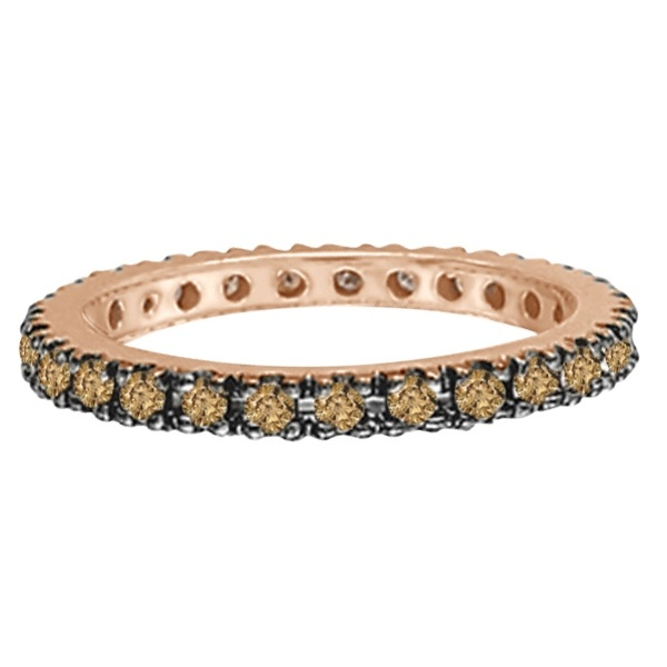 Champagne Diamond Eternity Ring Band in 14k Rose Gold (0.50ct)