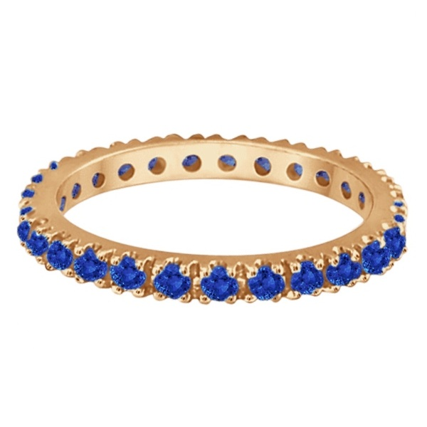 Blue Sapphire Eternity Band Stacking Ring 14K Rose Gold (0.50ct)