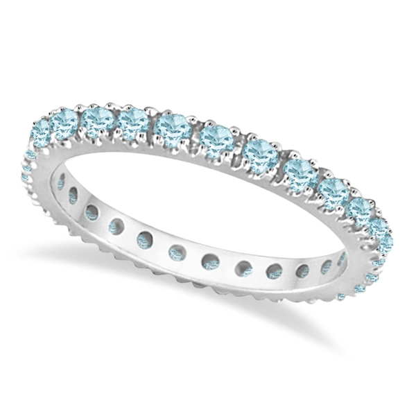Aquamarine Eternity Stackable Ring Guard Band 14K White Gold (0.50ct)