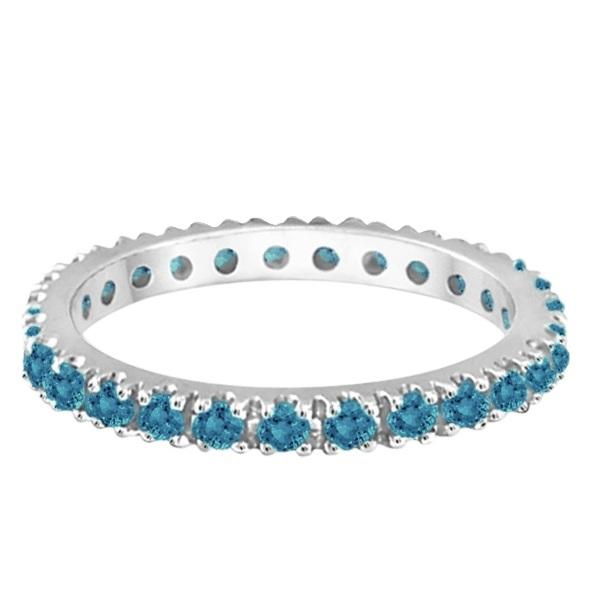 Fancy Blue Diamond Eternity Band Wedding Ring 14K White Gold (0.50ct)