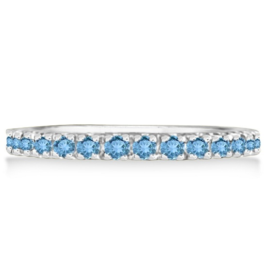 Blue Topaz Eternity Stackable Ring Band 14K White Gold (0.75ct)