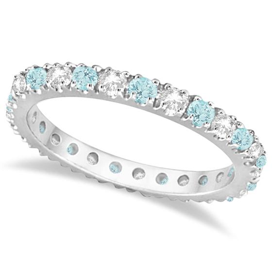 Diamond & Aquamarine Eternity Ring Stack Band 14K White Gold (0.51ct)