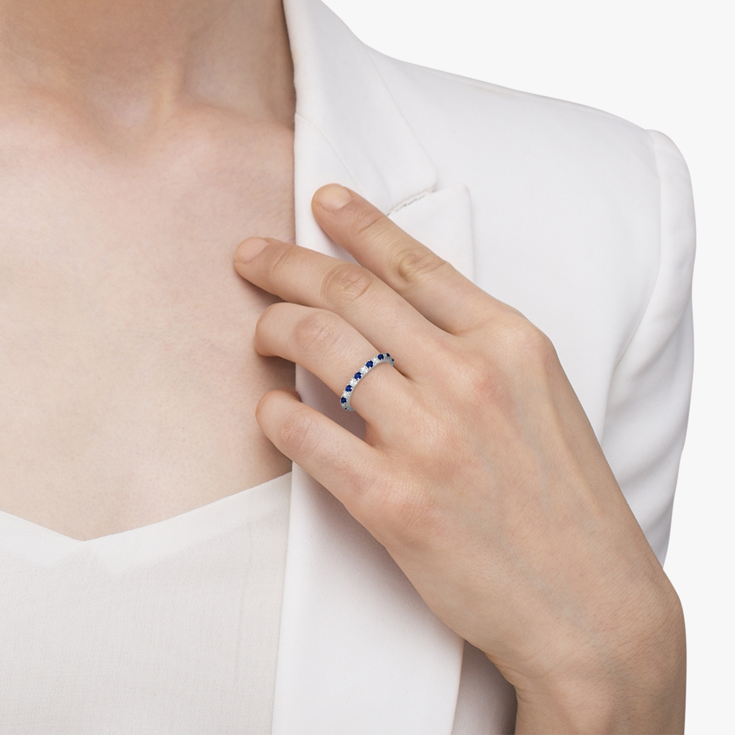 Diamond & Blue Sapphire Eternity Band Ring Guard 14K White Gold (0.51ct)
