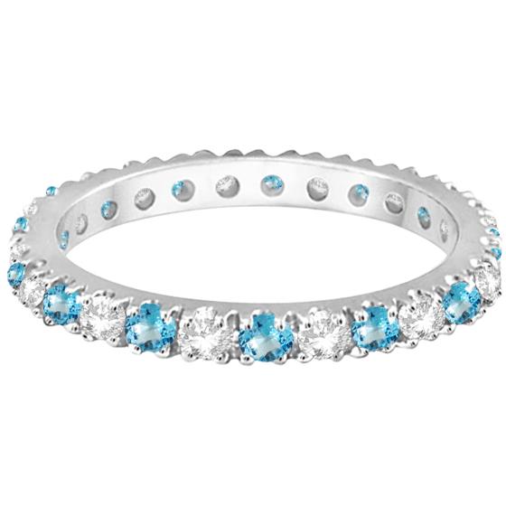 Diamond & Blue Topaz Eternity Ring Stack Band 14K White Gold (0.64ct)