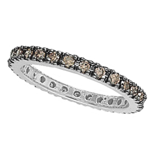 Champagne Diamond Eternity Ring Band in 14k White Gold (0.50ct)