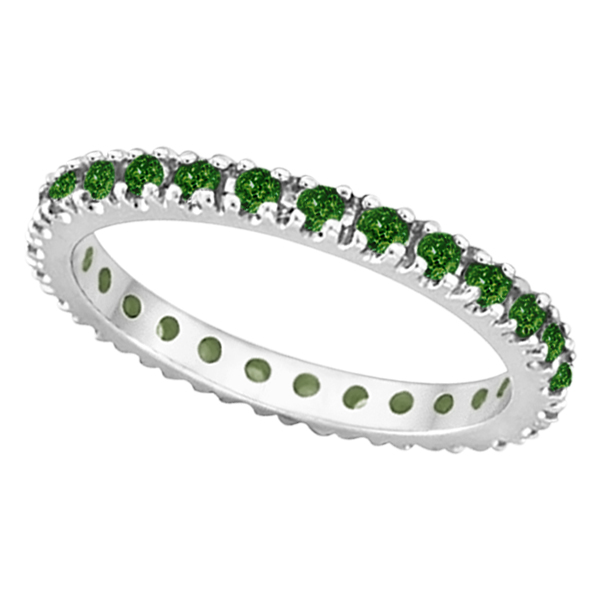 emerald eternity stackable ring band 14k white gold 0