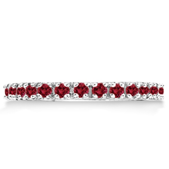 Garnet Eternity Band Stackable Ring 14K White Gold (0.50ct)