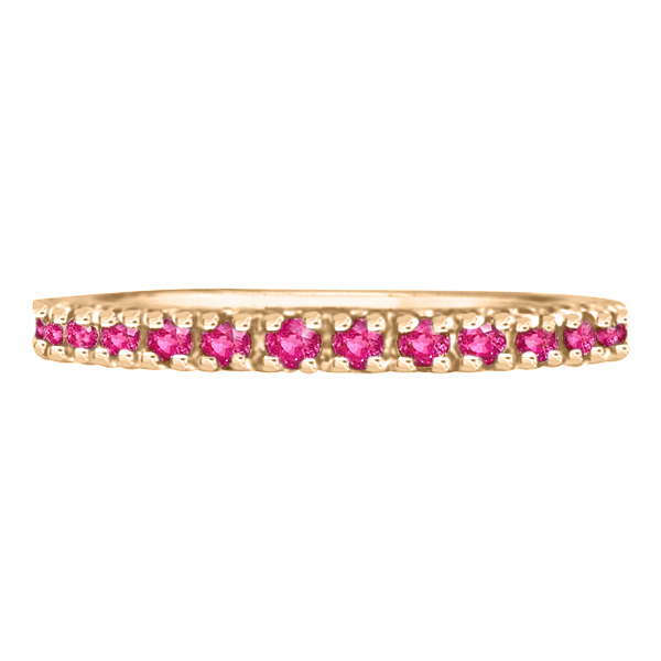Pink Sapphire Eternity Ring Stackable Band 14k Rose Gold (0.73ct)