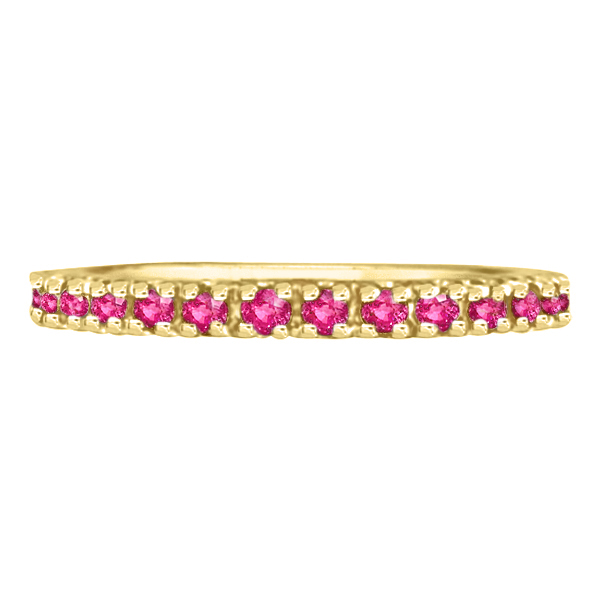 Pink Sapphire Eternity Ring Stackable Band 14k Yellow Gold (0.73ct)