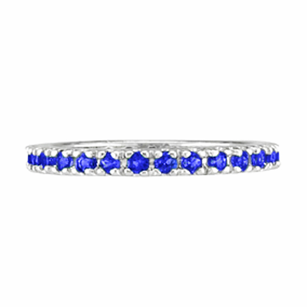 Blue Sapphire Eternity Stackable Band Wedding Ring Palladium (0.50ct)