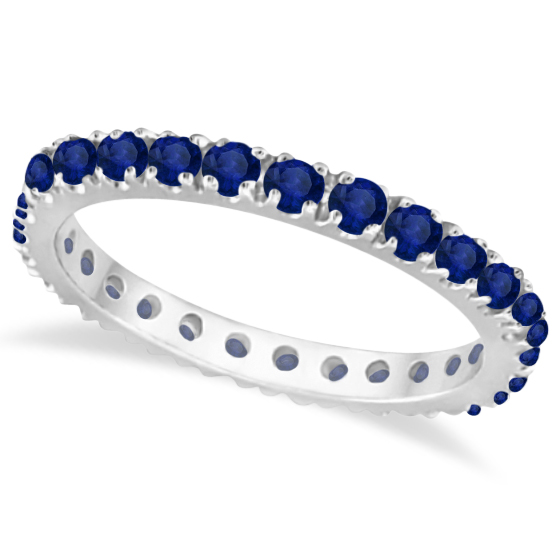 Blue Sapphire Eternity Band Wedding Ring 14K White Gold (0.50ct)