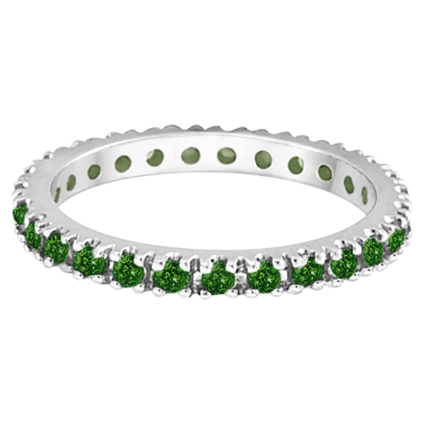 Tsavorite Eternity Stackable Ring Guard in 14K White Gold