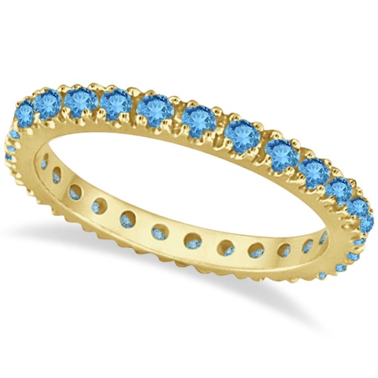 Blue Topaz Eternity Stackable Ring Band 14K Yellow Gold (0.75ct)
