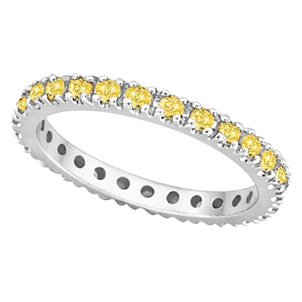 Fancy Yellow Canary Diamond Eternity Ring Band Palladium 051ct