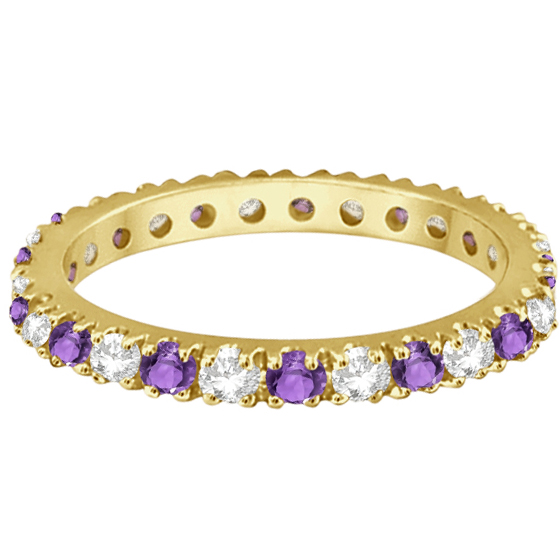 Diamond and Amethyst Eternity Band Stack Ring 14K Yellow Gold (0.64ct)
