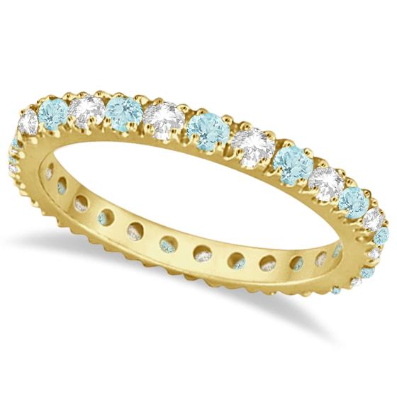 Diamond & Aquamarine Eternity Ring Guard Band 14K Yellow Gold (0.51ct)