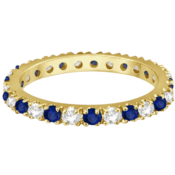 Diamond & Blue Sapphire Eternity Ring Stackable 14K Yellow Gold (0.51ct)