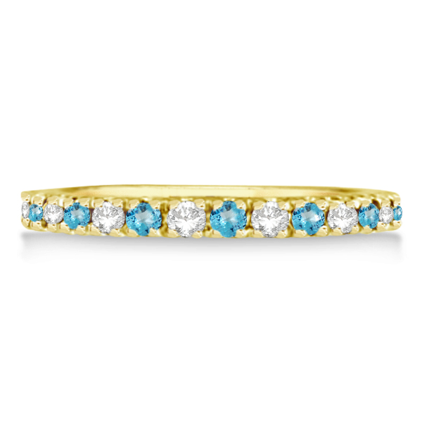 Diamond & Blue Topaz Eternity Ring Guard Band 14K Yellow Gold (0.64ct)