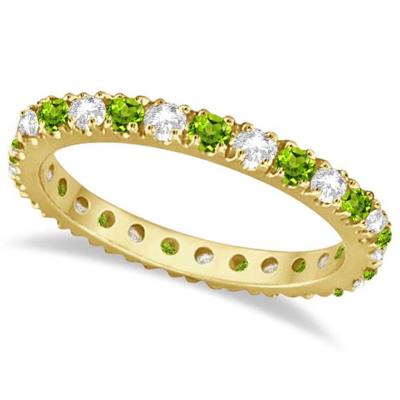 Diamond & Peridot Eternity Ring Guard Band 14K Yellow Gold (0.64ct)