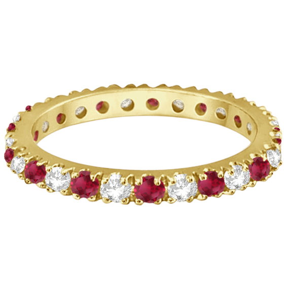 Diamond and Ruby Eternity Band Stackable Ring 14K Yellow Gold (0.51ct)