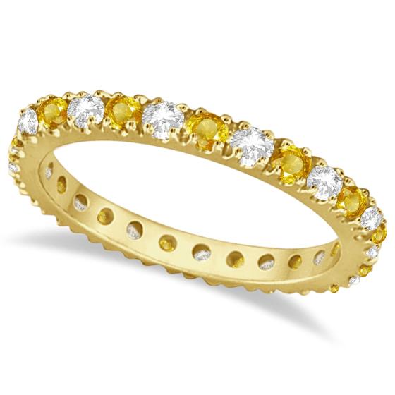 Diamond and Yellow Sapphire Eternity Ring Band 14k Yellow Gold (0.64ct)
