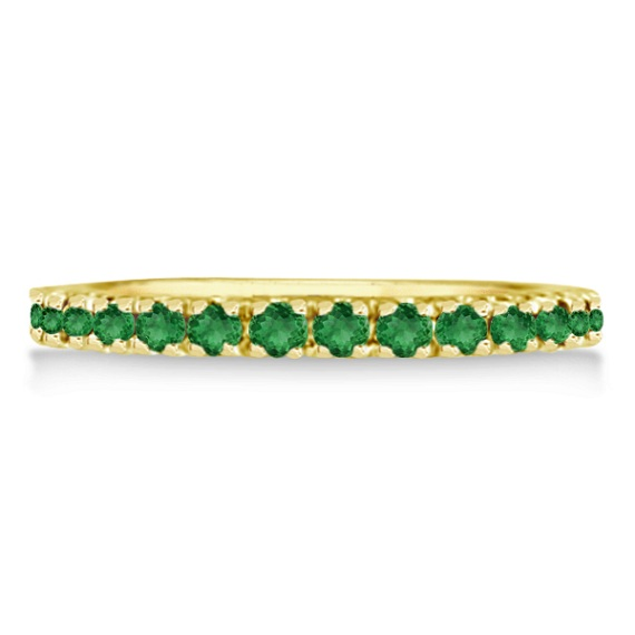 Emerald Eternity Stackable Ring Band 14K Yellow Gold (0.75ct)