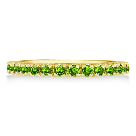 Peridot Eternity Stackable Ring Band 14K Yellow Gold (0.75ct)