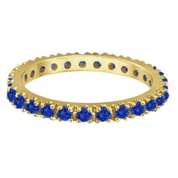 Blue Sapphire Eternity Band Anniversary Ring 14K Yellow Gold (0.50ct)