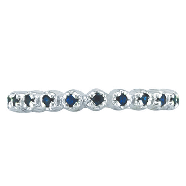 Blue Sapphire Stackable Ring Guard in 14k White Gold
