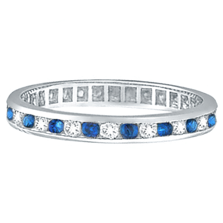 1.04ct Blue Sapphire & Diamond Channel Set Eternity Band Palladium