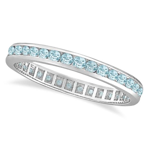 Aquamarine Channel-Set Eternity Ring Band 14k White Gold (1.08ct)
