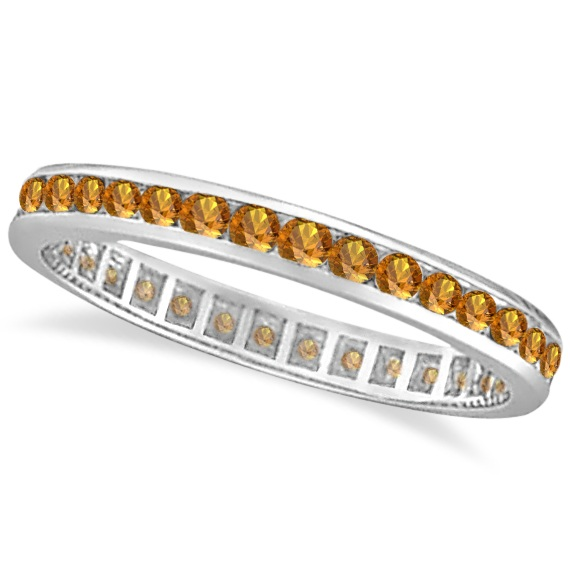 Citrine Channel-Set Eternity Ring Band 14k White Gold (1.04ct)