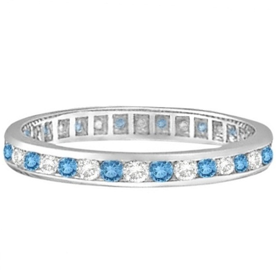 Blue Topaz & Diamond Channel-Set Eternity Ring 14k White Gold (1.00ct)