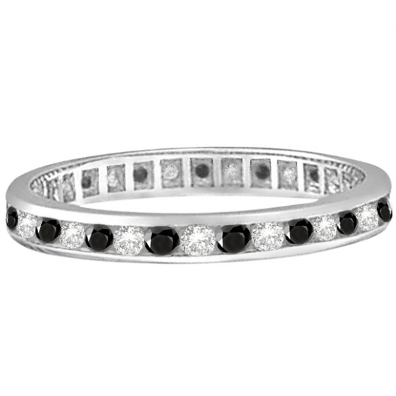 Black & White Diamond ChannelSet Eternity Ring 14k White Gold (1.04ct)