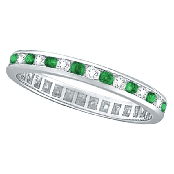 Emerald & Diamond Channel Set Eternity Band Ring Palladium (1.04ct)