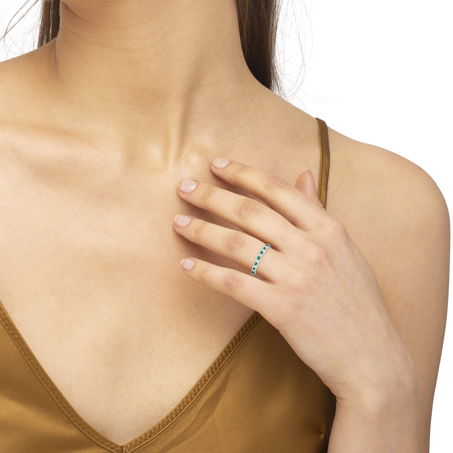 Emerald & Diamond Channel Set Eternity Band Ring (1.04ct)