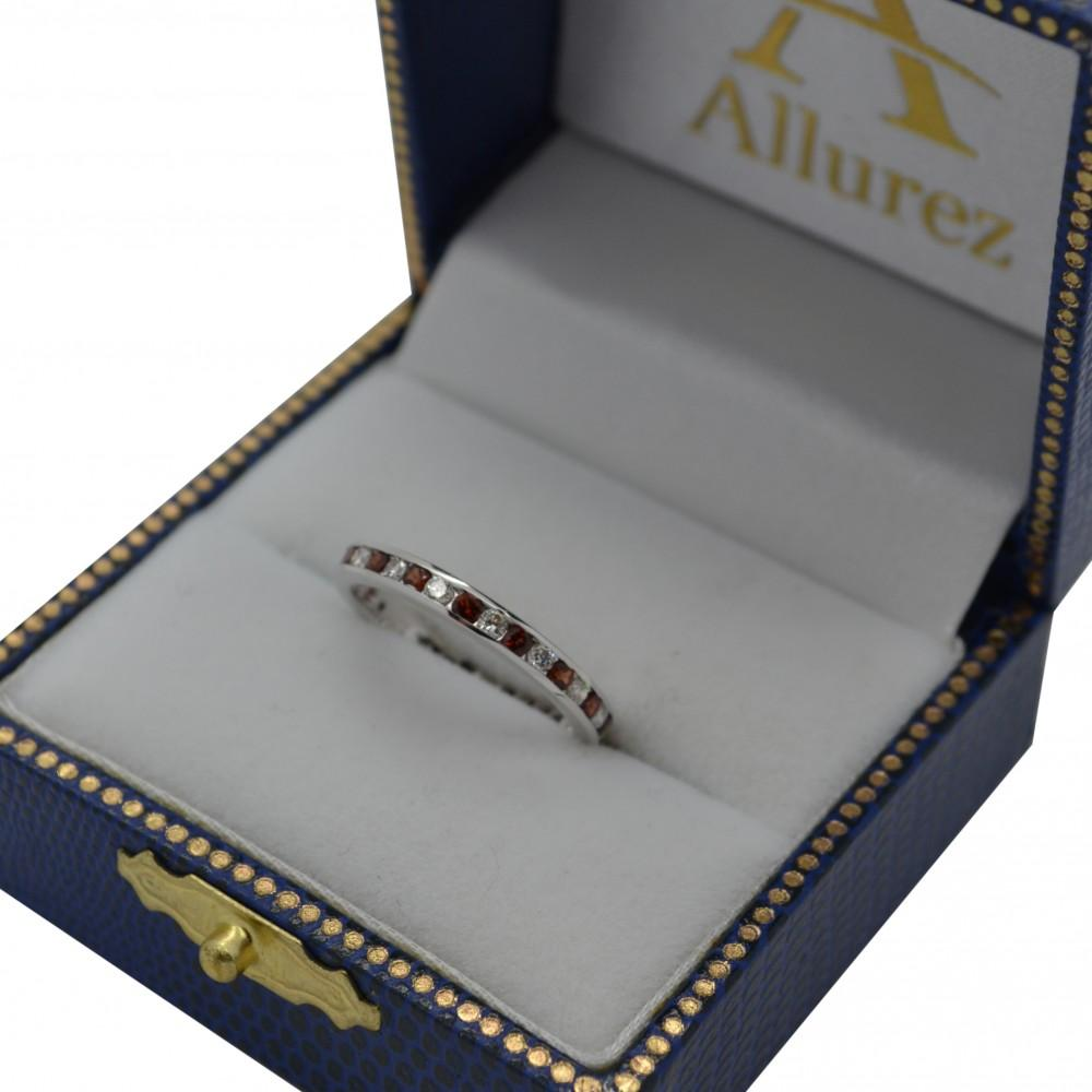 Garnet & Diamond Channel-Set Ring Eternity Band 14k White Gold (1.04ct)