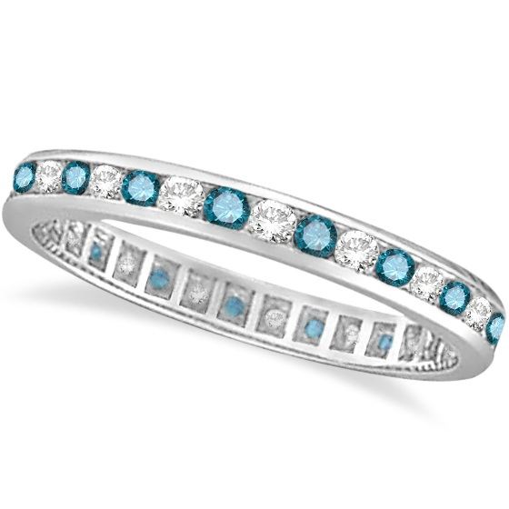 Blue & White Diamond Channel Set Eternity Ring Band 14k Gold (1.00ct)