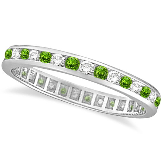 Peridot & Diamond Channel-Set Eternity Ring 14k White Gold (1.04ct)