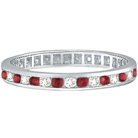Ruby & Diamond Channel Set Ring Eternity Band 14k White Gold (1.04ctw)
