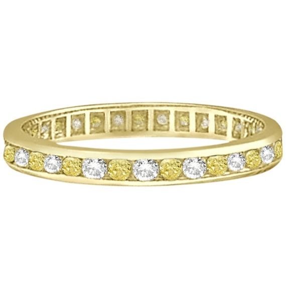 Channel-Set Yellow & White Diamond Eternity Ring 14k Y Gold (1.00ct)