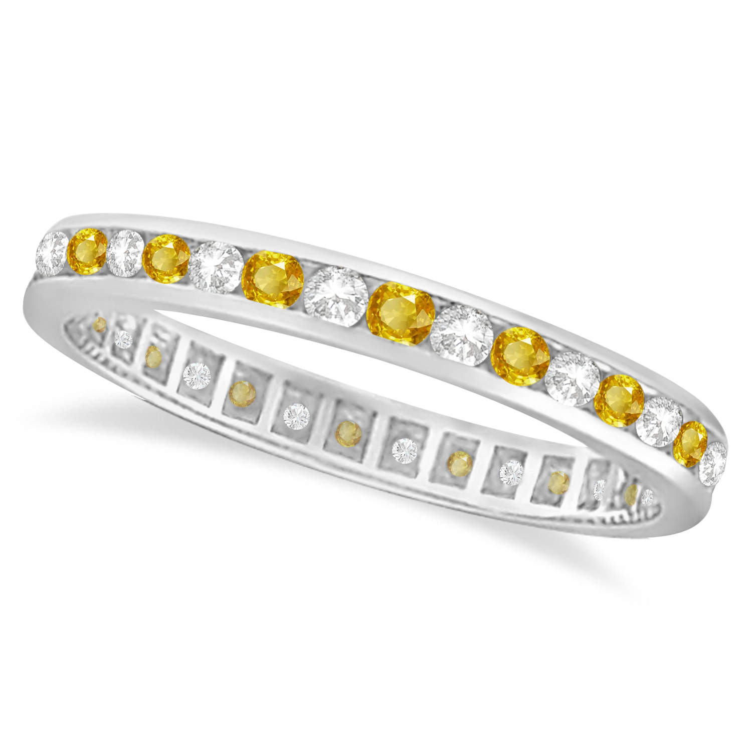 yellow sapphire diamond channel set eternity band 14k gold ring