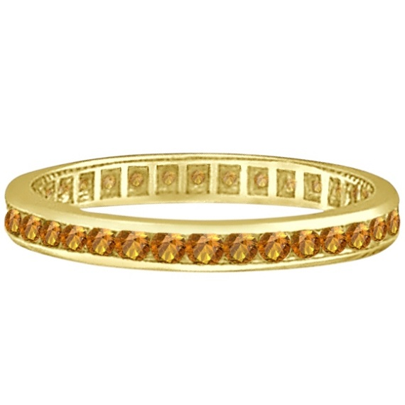 Citrine Channel-Set Eternity Ring Band 14k Yellow Gold (1.04ct)