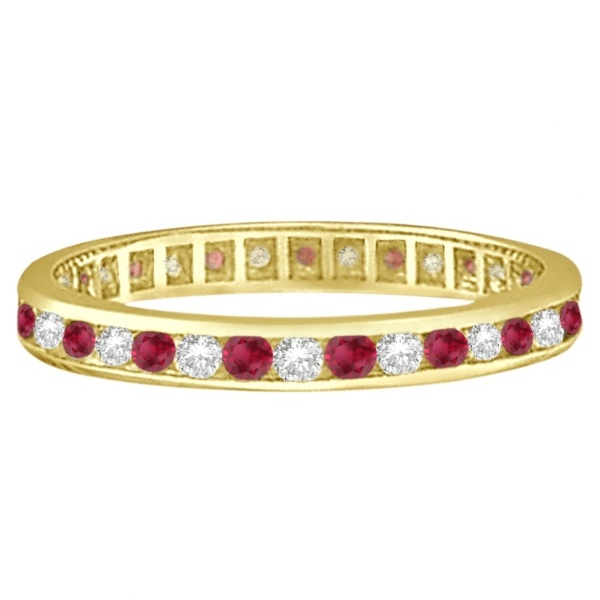 Garnet & Diamond Channel-Set Ring Eternity Band 14k Yellow Gold (1.04ct)