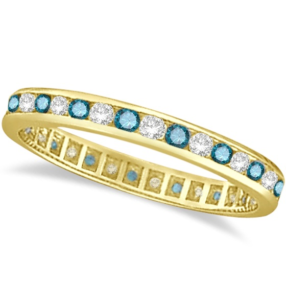 Blue & White Diamond Channel Set Eternity Ring 14k Yellow Gold (1.00ct)
